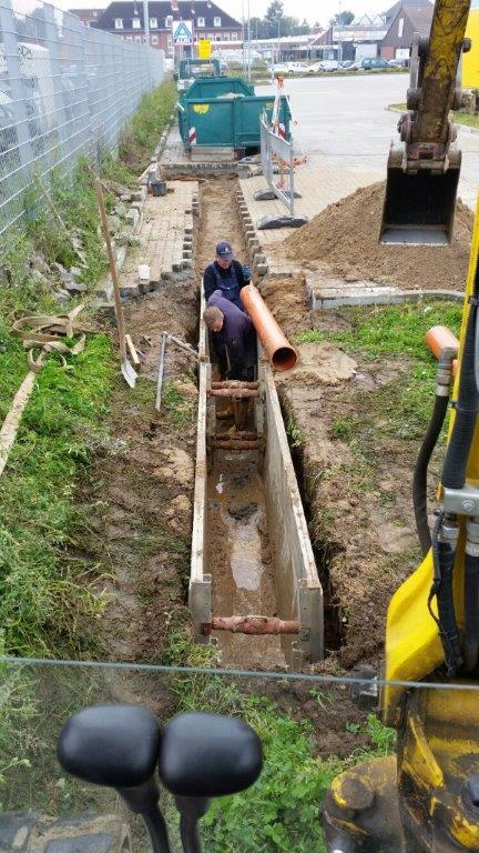 Entwässerung mit Verbau